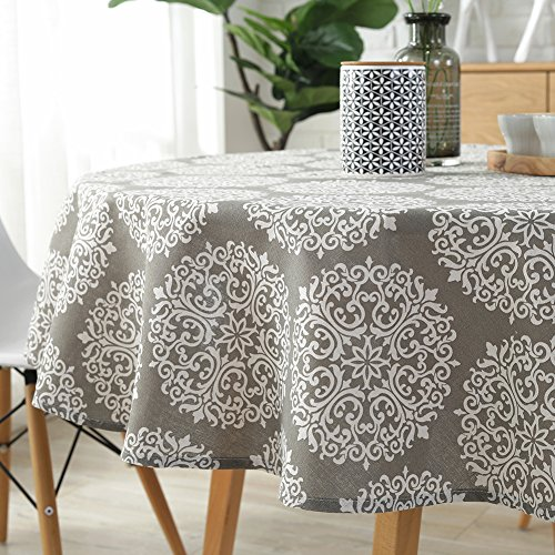 ColorBird Grey Medallion Tablecloth Cotton Linen Dust-proof Table Cover for Kitchen Dinning Tabletop Linen Decor (Round, 60 Inch) by ColorBird