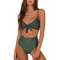 1dded31c75 Blooming Jelly Womens High Waisted Bikini Set Tie Knot High Rise Two Piece Swimsuits  Bathing Suits