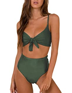 a3b4ea9f501 Blooming Jelly Womens High Waisted Bikini Set Tie Knot High Rise Two Piece Swimsuits  Bathing Suits