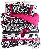 zebra bedspread full - Comforter Bed Set Teen Kids Girls Pink Black White Animal Print Polka Dots Bedding Set (Full/queen)
