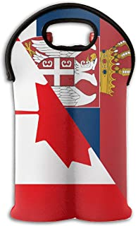 Flag Canada Serbia Two Bottle Wine Carrier Tote Bag Neoprene Wine/Water Bottle Holder Keeps Bottles Protected New6