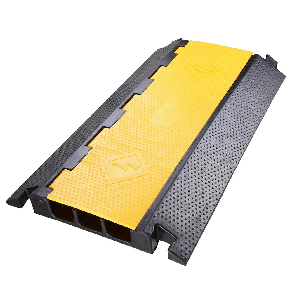 Yescom 3 Channel Rubber Electrical Wire Cable Cover Ramp Guard Warehouse Cord Protector