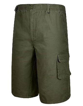 7cc3c17cd9 Mens Elastic Waist Below-The-Knee Button Closure Cargo Shorts Army Green 32