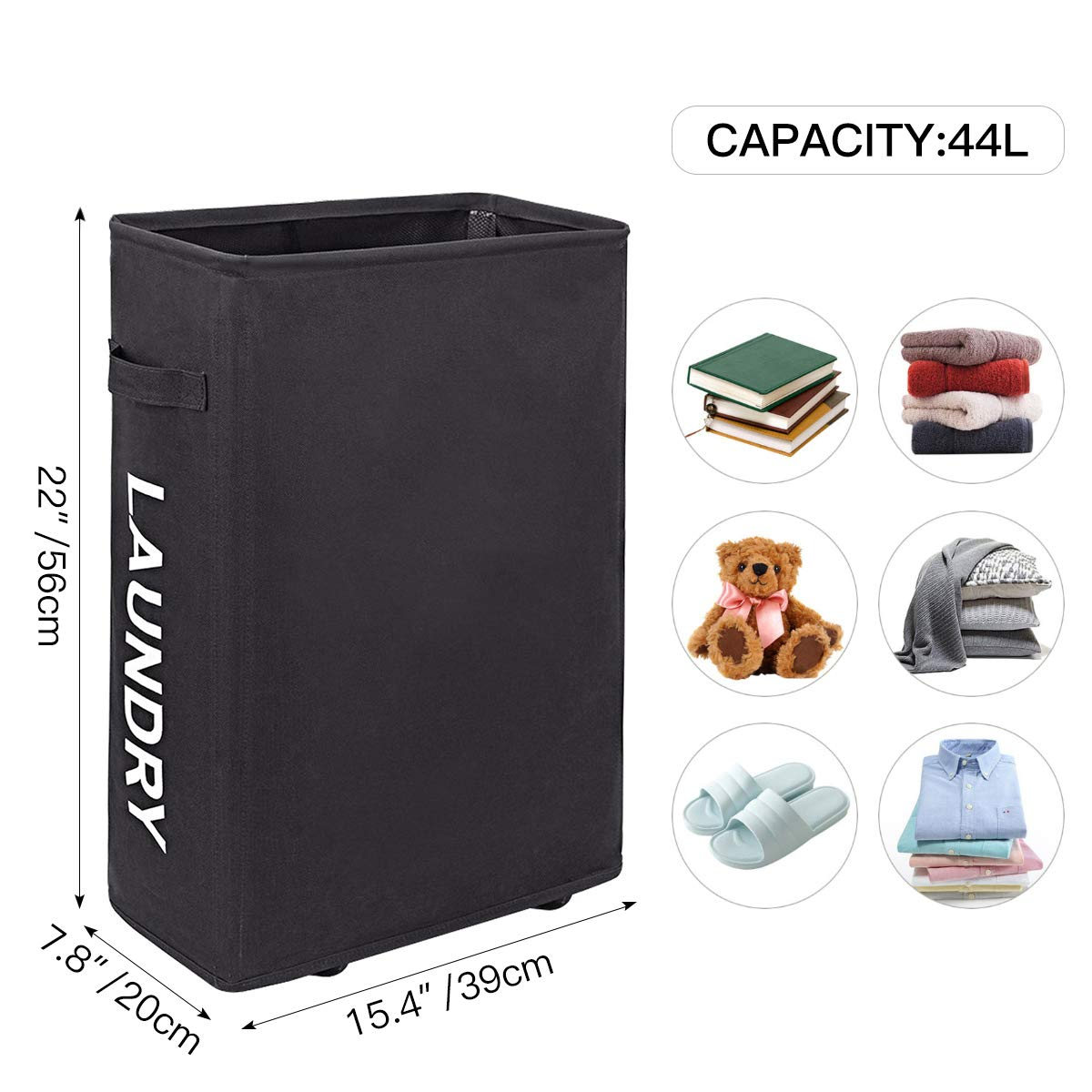 Wishpool 22 slim hampers for laundry collapsible rolling laundry basket with wheels narrow dirty clothes laundry