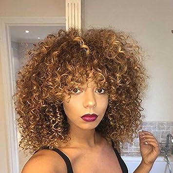Cheveux bouclés Perruques pour femme noire,