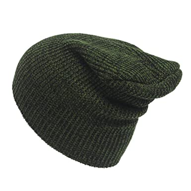 3ac874f0e4ea62 Winter Casual Cotton Knit Hat Men Baggy Beanie Hat Crochet Outdoor Ski Cap  Street Dance Mask (Army Green) at Amazon Men's Clothing store: