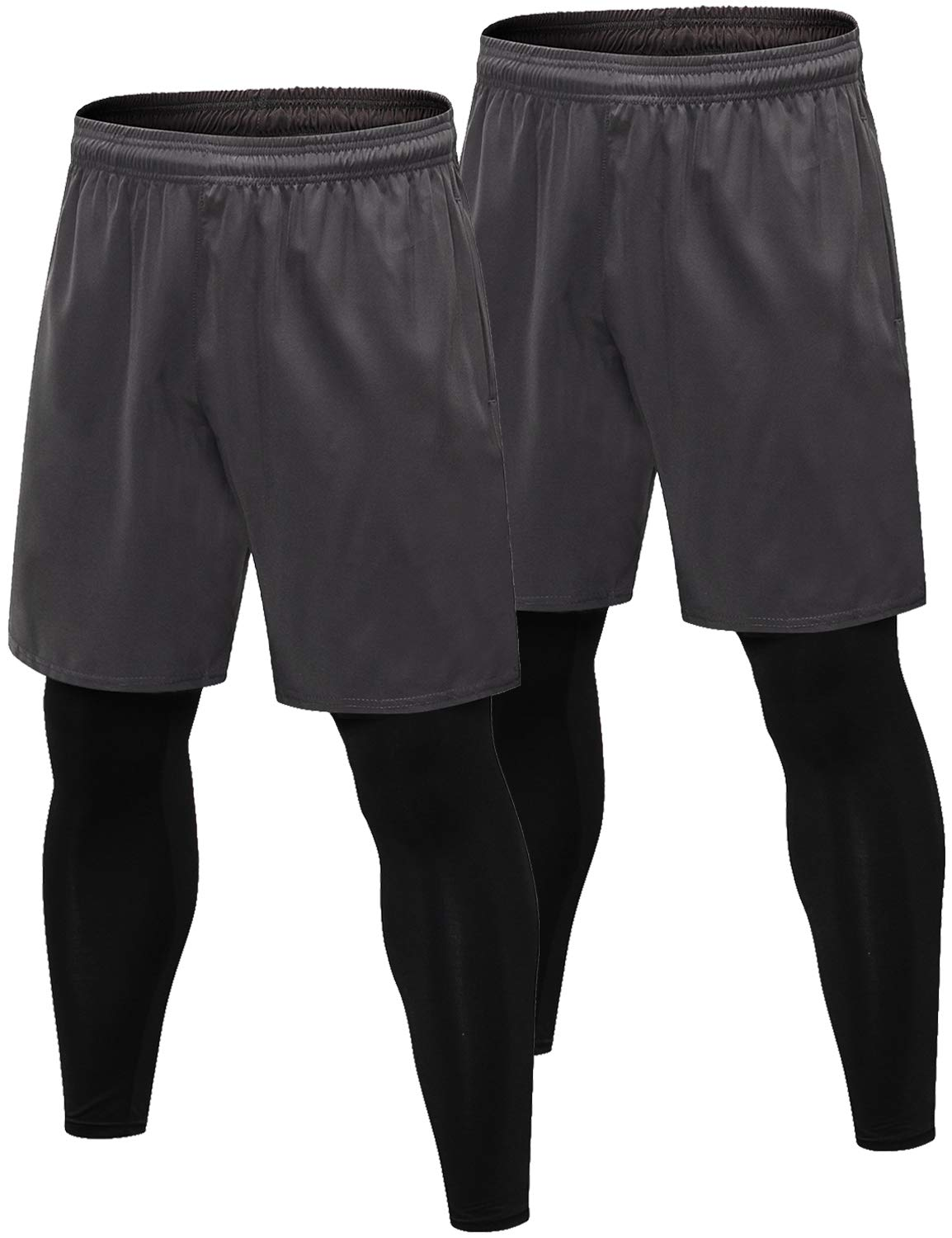 Lavento Men's 2-in-1 Running Shorts with Built-in Compression Leggings (2 Pack-3912 Gray,Small) by Lavento