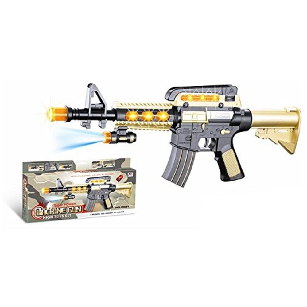 LilPals 17 Inch Rapid Fire Super Power Machine Gun Toy – With Dazzling Light, Amazing Sound & Unique Action