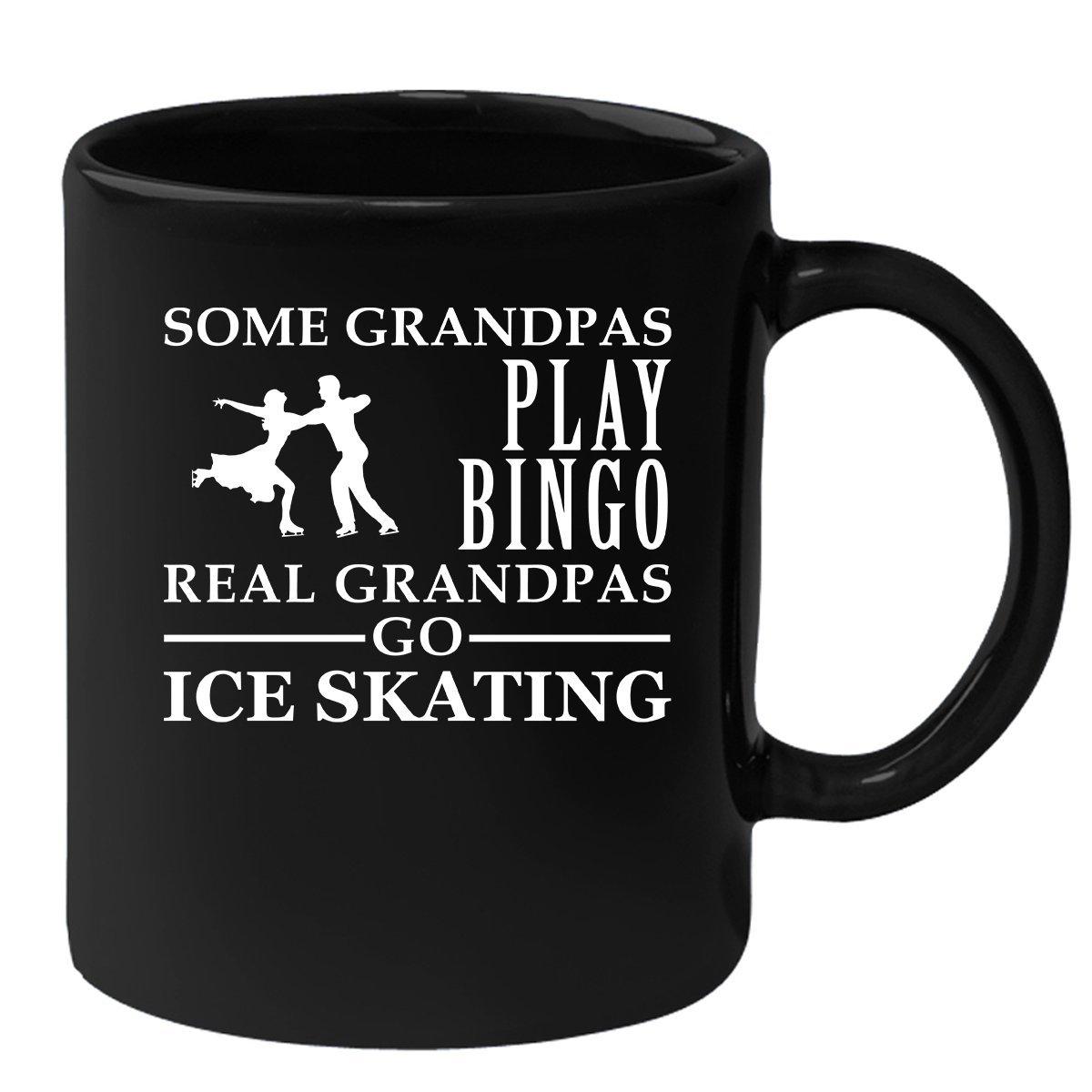 Ice Skating Black Coffee Mug, Grandpa Birthday Present Mug, Funny Mug for Coffee 11oz Some Grandpas play bingo, real Grandpas go Ice Skating