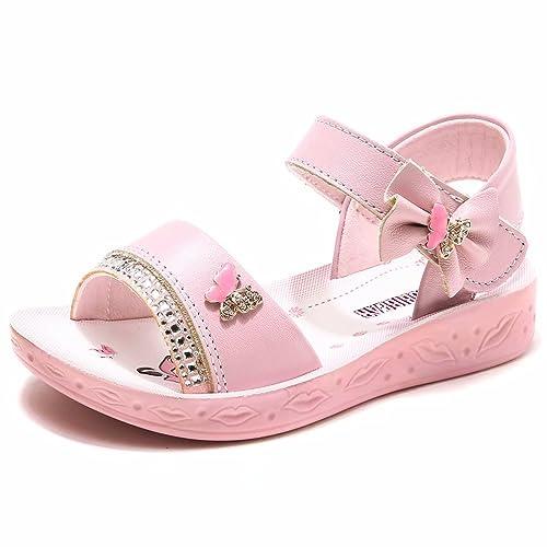 387c7589ef34a4 GUBARUN Open Toe Sandals Flower Glitter for Girls … Pink