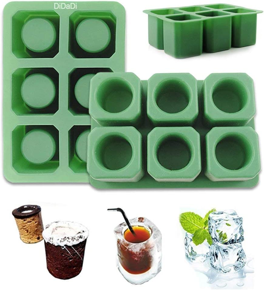2 Pack Silicone Ice Shot Glass Mold, 6 Cups Square Green Ice Cube Tray, Jelly Tray, Cake Cup Mold, Food Grade Silicone Ice Shot - Green