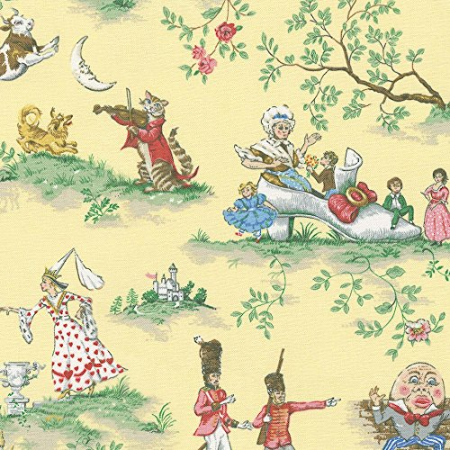 Carousel Designs Yellow Nursery Rhyme Toile Fabric by the (Nursery Rhyme Fabric)