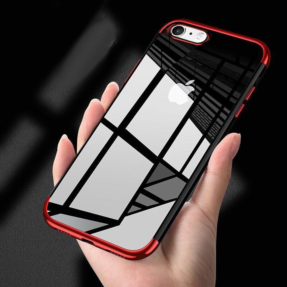 【高額売筋】 iPhone/ 6s Plusケース 6s、iPhone 6 Plusカバー レッド、phezenウルトラスリムクリスタルクリアTpu製ケースメッキフレーム傷防止透明シリコンクリアソフトジェルスキンBack Case for iPhone 6/ 6s Plus レッド PHEZEN09515 レッド B077K1DKWQ, イイシグン:1c4a765f --- arianechie.dominiotemporario.com