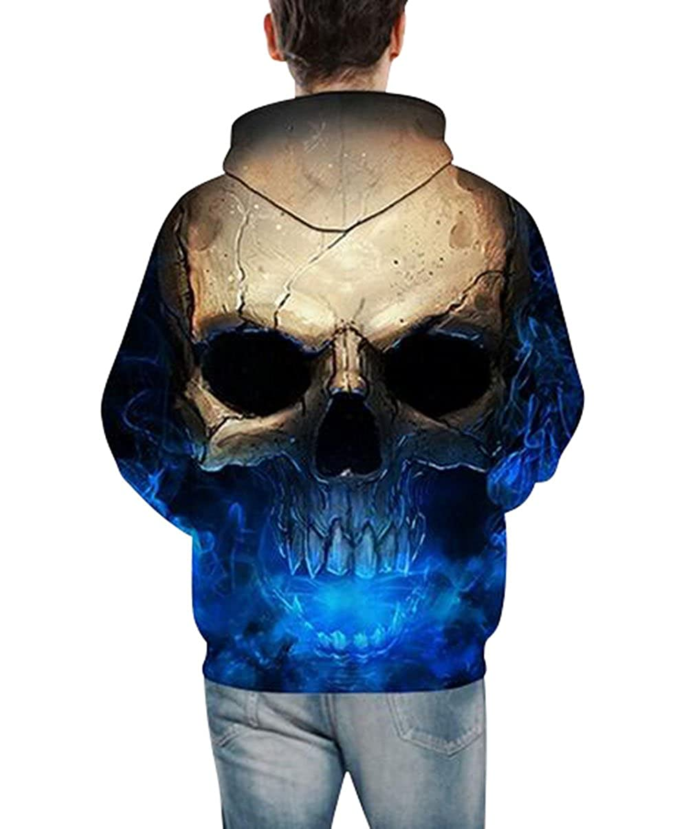 Lyamazing Unisex Hoodie Skull 3D Printed Pullover Long Sleeve Sweatshirt at Amazon Mens Clothing store: