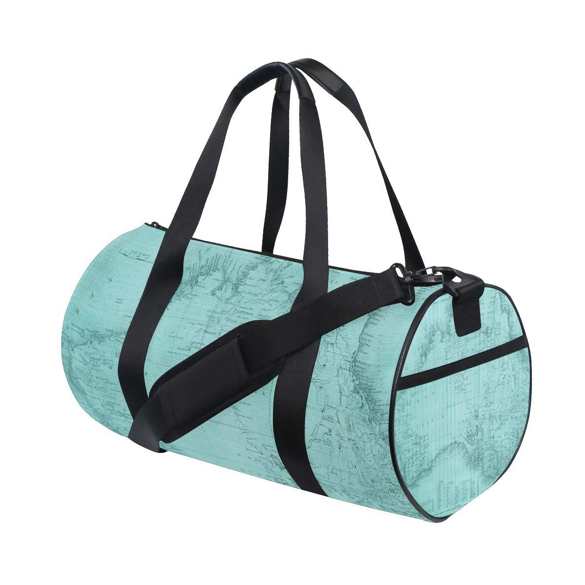 Vintage Patina Maps Travel Duffel Bag Sports Gym Duffel Bag Luggage Handbag for Men Women