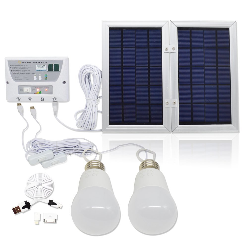 Charge Controller Solar LED lighting system- 2 x 2W comparable LED lights 6W Portable Solar Panel USB Port with Cell Phone Cables Included 3.7 V // 8000 mah Lithium Battery Falove
