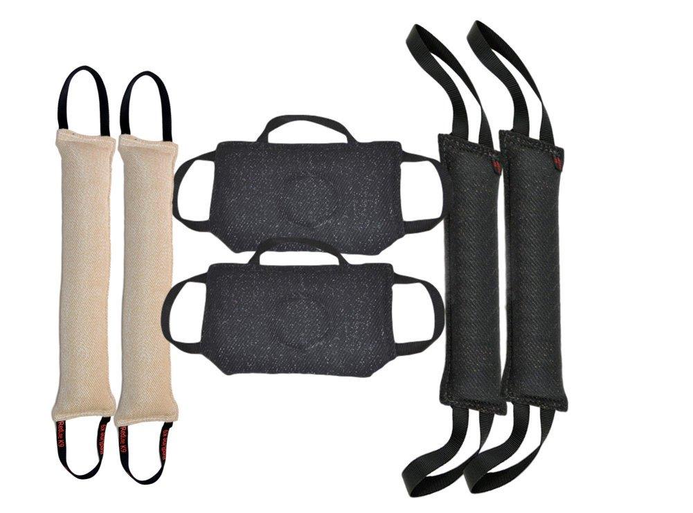Bundle of Large Bite Tug Toys 2 - 4'' X 24'' Jute Tug, 2 - 4'' X 24'' French Linen Tug Toys, 2 - 3 Handle Flat French Linen Bite Pillows - Redline K9
