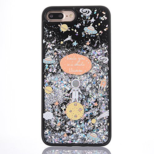 iPhone 8custodia, iPhone 7custodia [free tempered glass Screen Protector], mo-beauty ® Astronaut design Flowing Liquid Floating Flowing Bling Shiny Sparkle glitter Crystal Clear custodia in plastica