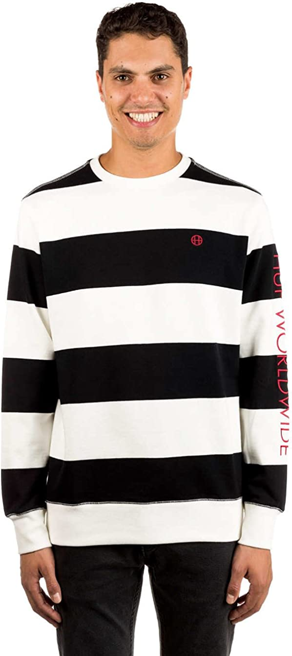 HUF Pull Homme Catalina Stripe Crew Polaire Pull Noir L