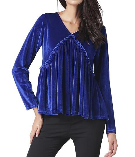 a24b66e70ce5 Meeshine Women V-Neck Long Sleeve Velvet Ruffle Pleated Lace Up Blouse T- Shirt at Amazon Women's Clothing store: