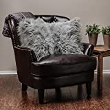 Chanasya Soft Shaggy Fuzzy Fur Long Mangolian Faux Fur Cozy Elegant Chic Decorative Gray Throw Pillow Cover Pillow Sham- Silver Gray 2-Pack Throw Pillowcase 18x18 Inches (Pillow Insert Not Included)