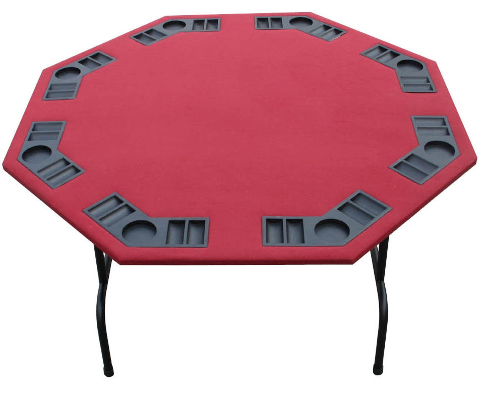 Folding Octagon Poker Table For Texas Holdem, Cards & Game. 52'' In Burgundy, Green Or Black Felt, XL 60'' In Burgundy. Steel Legs, Built In Cup holders And Chip Trays (Burgundy, 52'')