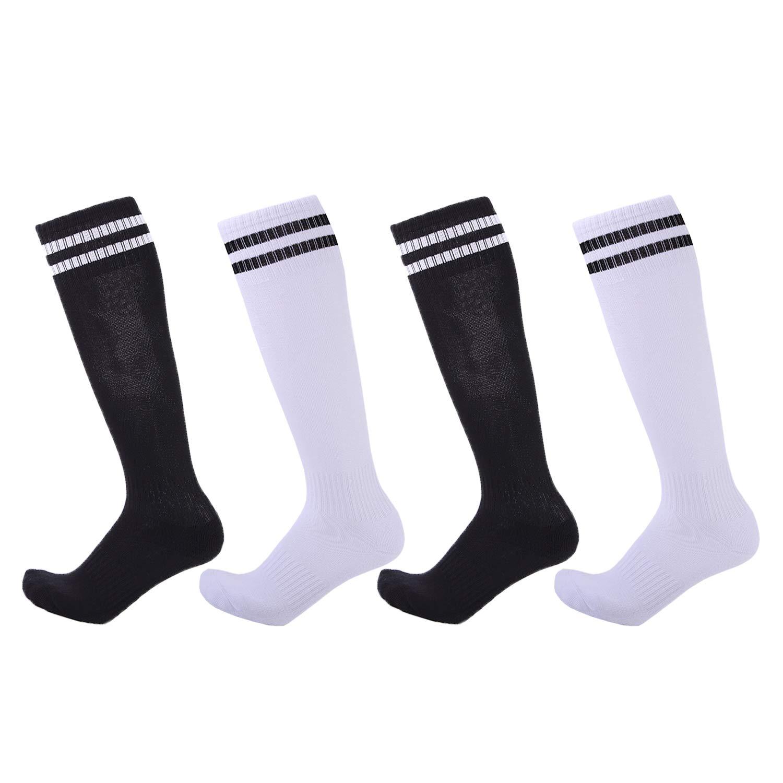 4 Pairs Boys Girls Soccer Socks Towel Cushioning Compression Sport Socks Cotton Team Socks for Children & Kids & Teenagers Black & White by EBlife