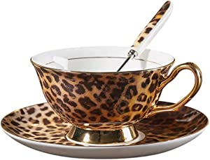YBK Tech Euro Style Cup& Saucer Set Art Bone China Ceramic Tea Coffee Cup for Breakfast Home Kitchen (Leopard Pattern)