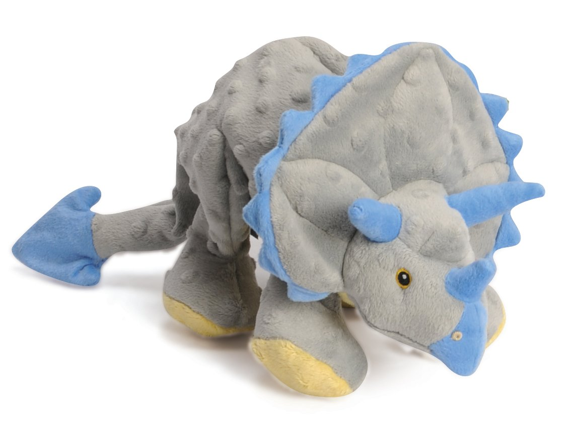goDog Dinos Triceratops With Chew Guard Technology Tough Plush Dog Toy, Grey, Large