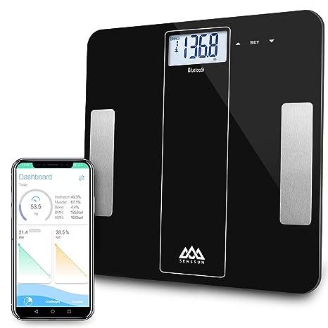 SENSSUN Bluetooth Medidor Inteligente de Masa Corporal,Báscula Digital de baño de Peso,BMI
