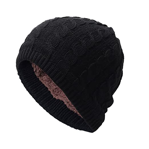 626f72768ee FEOYA Winter Warm Knitting Hat Slouchy Beanie Skull Cap For Men Women -  Black