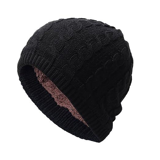 ac536e845f7 FEOYA Winter Warm Knitting Hat Slouchy Beanie Skull Cap For Men Women -  Black