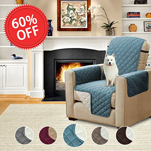 Faux Suede Box (Reversible Faux Suede Furniture Protector, Stay in Place with Adjusts Straps, Features Protect from Dogs / Cats, Spills, Wear and Tear (79 inch x 68 inch for Recliner, Smoke Blue/Beige))