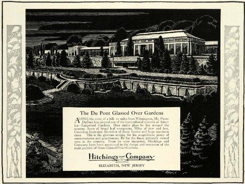 1931 Ad Hitchings Elizabeth NJ Du Pont Glassed Gardens Conservatory Greenhouse - Original Print - Nj Elizabeth Gardens