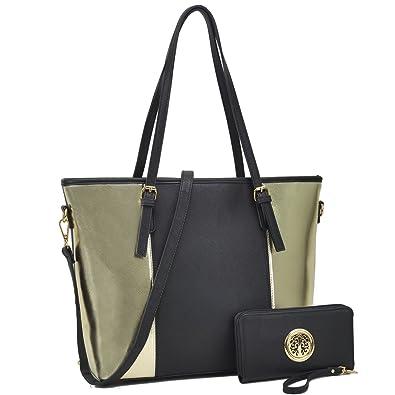7411d8a797 Large Travel Tote Leather Zipper Shoulder Handbag Top Handle Two Tone Purse  Wallet Set Black