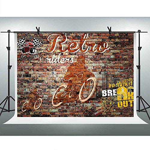 FHZON 10x7ft Motorcycle Competition Backdrops for Photography Brick Wall Background Themed Party Video Studio Props LSFH833]()
