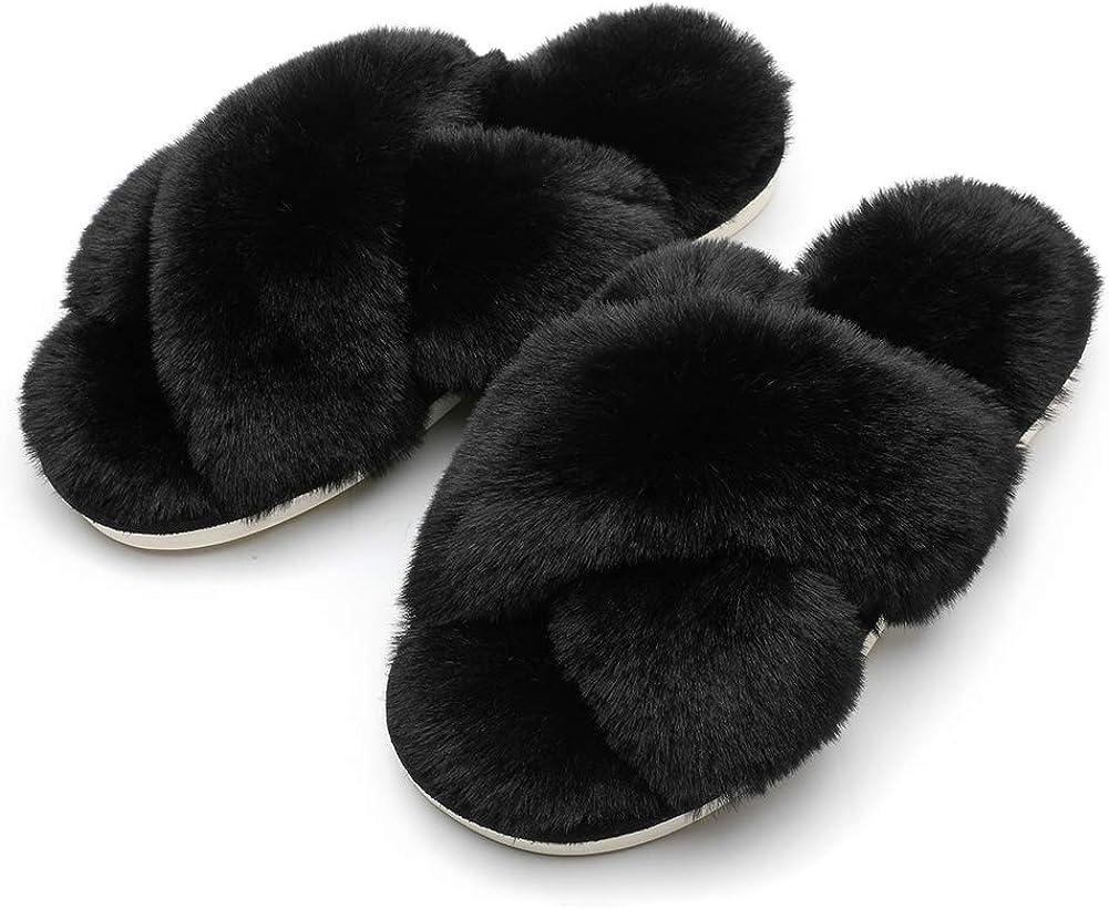 Women Fluffy Soft Plush Faux Bunny Fur Memory Foam Lightweight Warm House Slippers Open Toe Cute Flat Outdoor//Indoor Slip on Anti-Slip Gifts Slippers