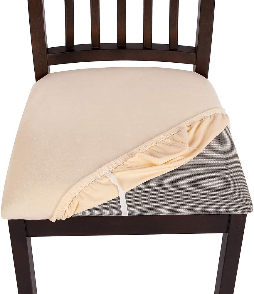 Removable Washable Furniture Protector Slipcovers with Ties Stretch Fitted Dinning Upholstered Chair Seat Cushion Cover Soft Velvet Dining Room Chair Seat Covers Set of 4 Beige