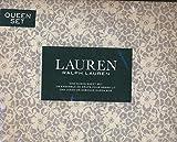 Lauren Ralph Lauren 4 Piece Cotton Sheet Set Gray Floral on a White Background (Queen)