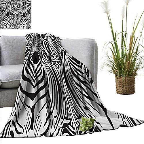 (homehot Zebra Print Faux Fur Throw Blanket Illustration Pattern Zebras Skins Background Blended Over Zebra Body Heads Fall Winter Spring Living Room 54