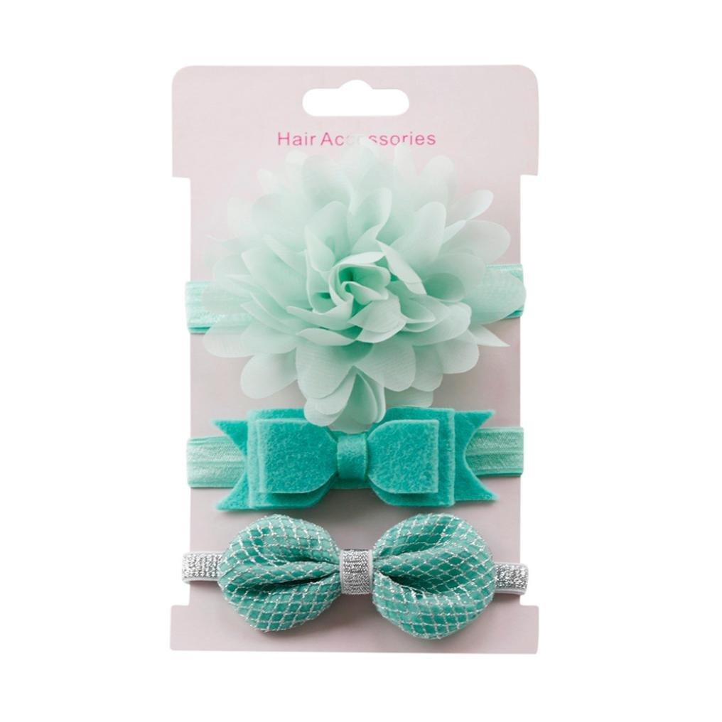K-youth® 3pcs Niños Elásticos Diadema Floral Pelo Niñas Bebé Bowknot Hairband Conjunto Mariposa Niñas Banda Para La Cabeza Diadema Bebé (Azul C)