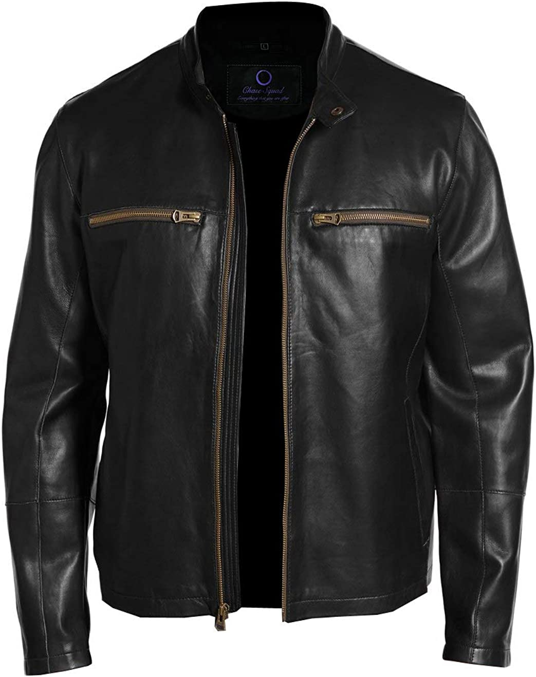 Men/'s Black Leather Jacket Chase Squad Goldish Lambskin Leather Jackets Men