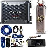 Pioneer 4 Gauge 1600W Monoblock Class-D Car Amplifier W/ SQCAP2M Power Capacitor 4 Gauge Amp Kit PAC SNI-35 Variable LOC Line Out Converter