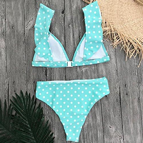39035516be6c ... Upxiang 2 Stück Wave Point Printed Bikini Tankini Bademode Badeanzug  Damen Lotus Blatt Ärmel Bikini Top