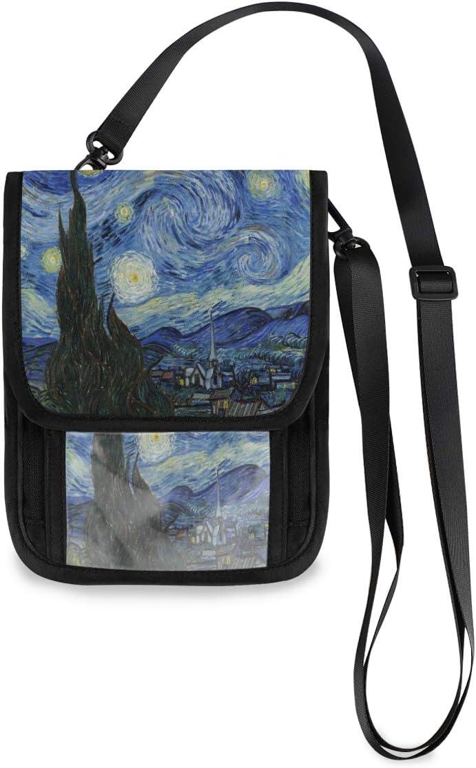 KUWT Travel Neck Wallet Van Gogh Starry Night Passport Holder Organized Travel Pouch Crossbody Phone Bag for Women Men