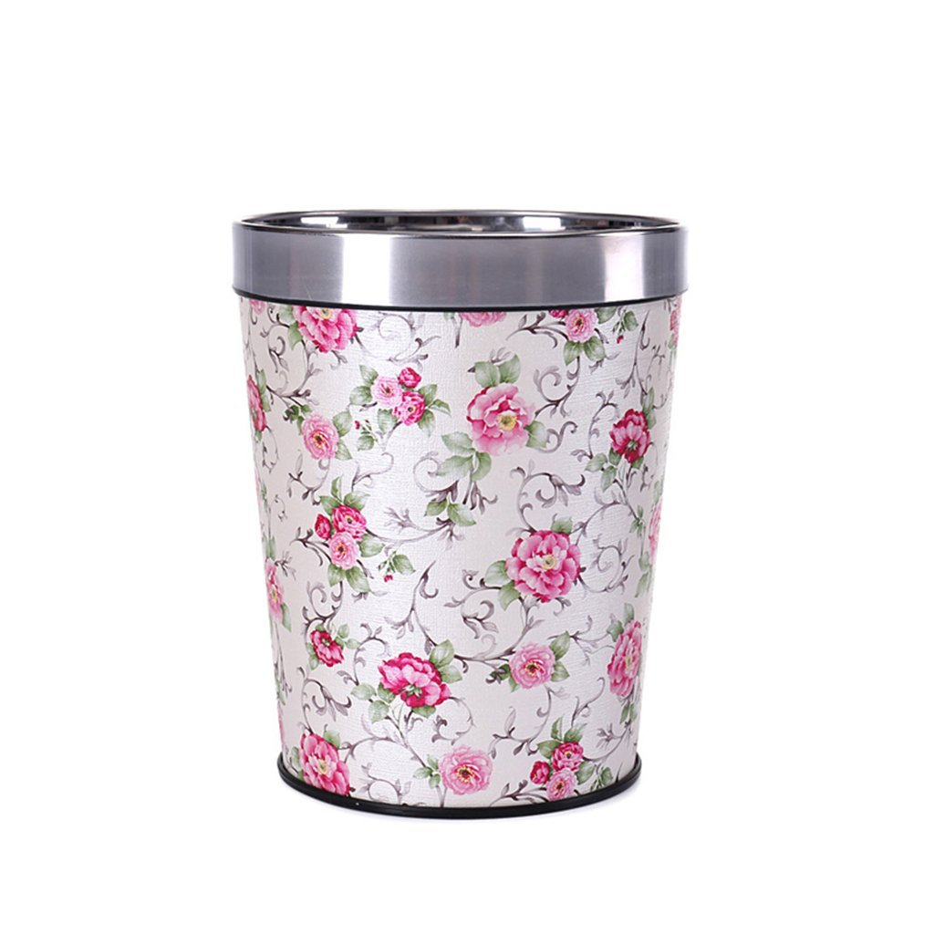 CSQ Kitchen Trash Can, Household Creative Hotel Without Cover Bedroom Living Room Bathroom Pu Trash Can Office Paper Basket 8-12L (Color : D, Size : 8L)