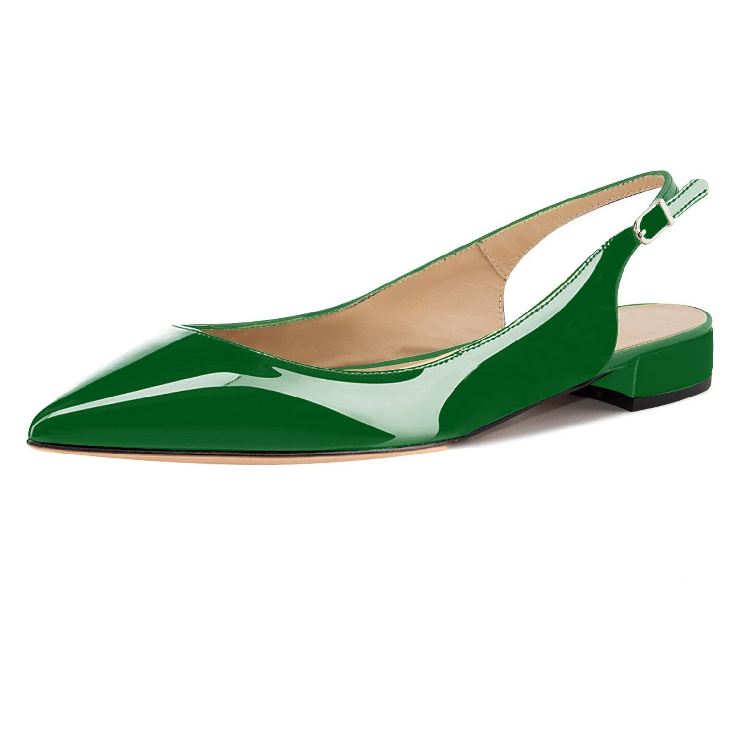 Eldof Women Low Heels Pumps | Pointed Toe Slingback Flat Pumps | 2cm Classic Elegante Court Shoes B07C51ZY2G 7 B(M) US|Patent Green