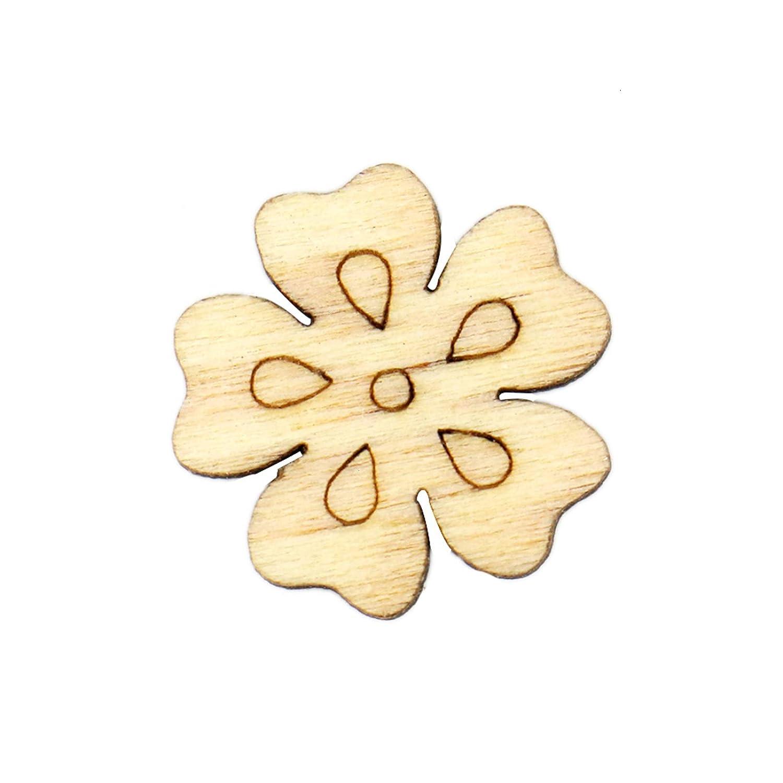 WSSROGY 200 Pcs Wooden Flower Leaf for DIY