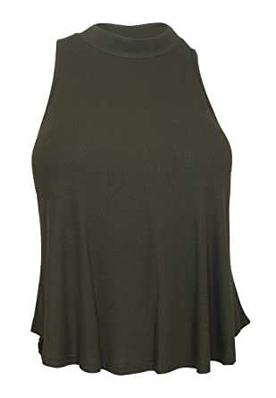 8d8d30711e8f6 eVogues Plus Size Cropped Sleeveless Peephole Top Dark Olive at Amazon  Women s Clothing store