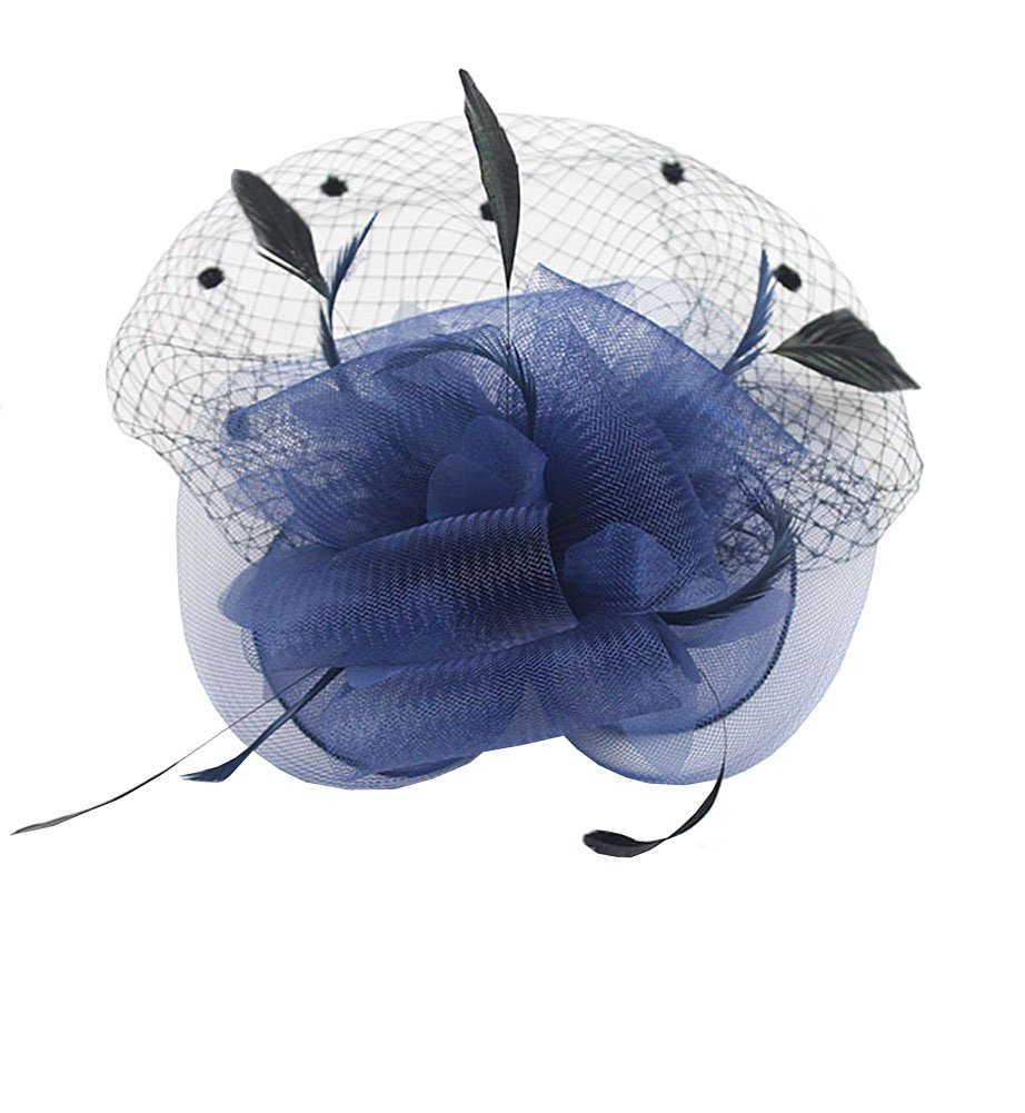 Urban CoCo Womens Bow Feather Net Veil Fascinator for Cocktail Party Wedding Hair Clip Bridal Hat #3-Light Blue